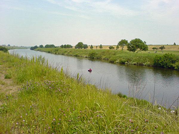 入間川を下る釣り人