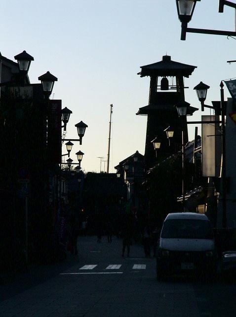 川越・時の鐘、秋の夕景