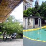 すだれの屋根、夏支度の鉄砲洲児童公園
