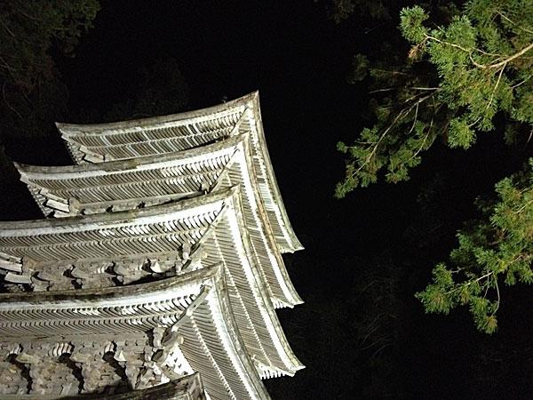 庄内旅行- 羽黒の宿坊街に宿泊、夜の五重塔へ
