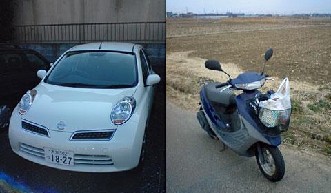 自動車とスクーター