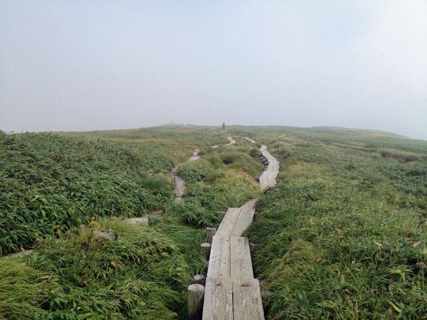 月山山頂付近の木道