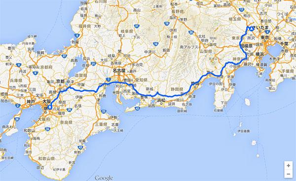 2014年の川越〜大阪帰省ルート