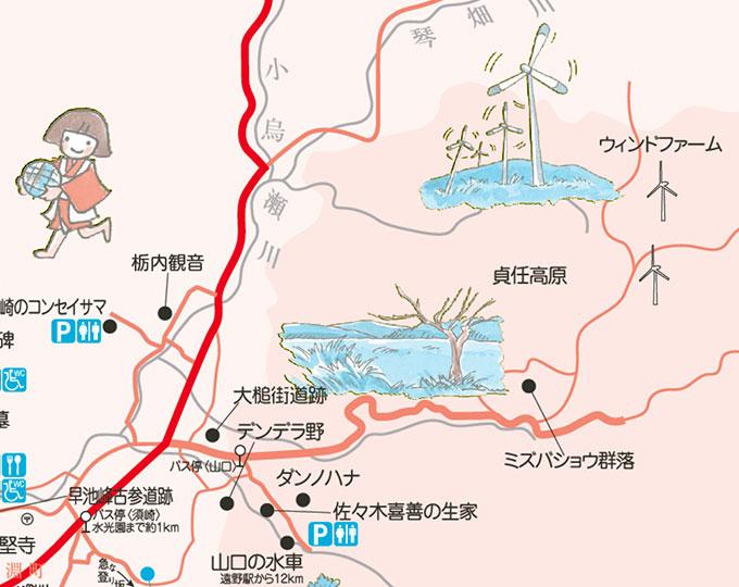 遠野観光地図・貞任高原