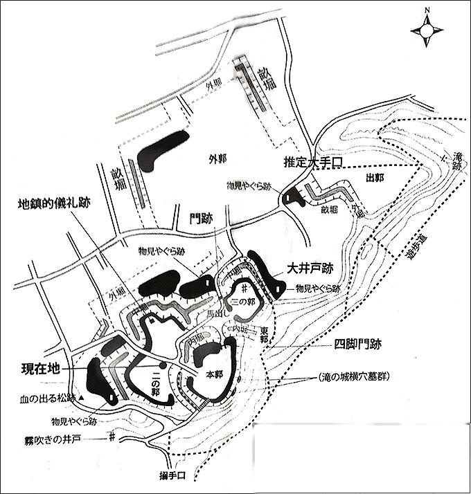 滝の城跡・縄張り図(所沢)